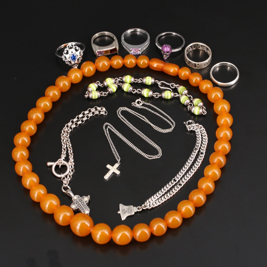 Sterling Jewelry Including Amethyst, Spinel and Cubic Zirconia