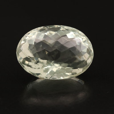 Loose 19.01 CT Oval Faceted Prasiolite