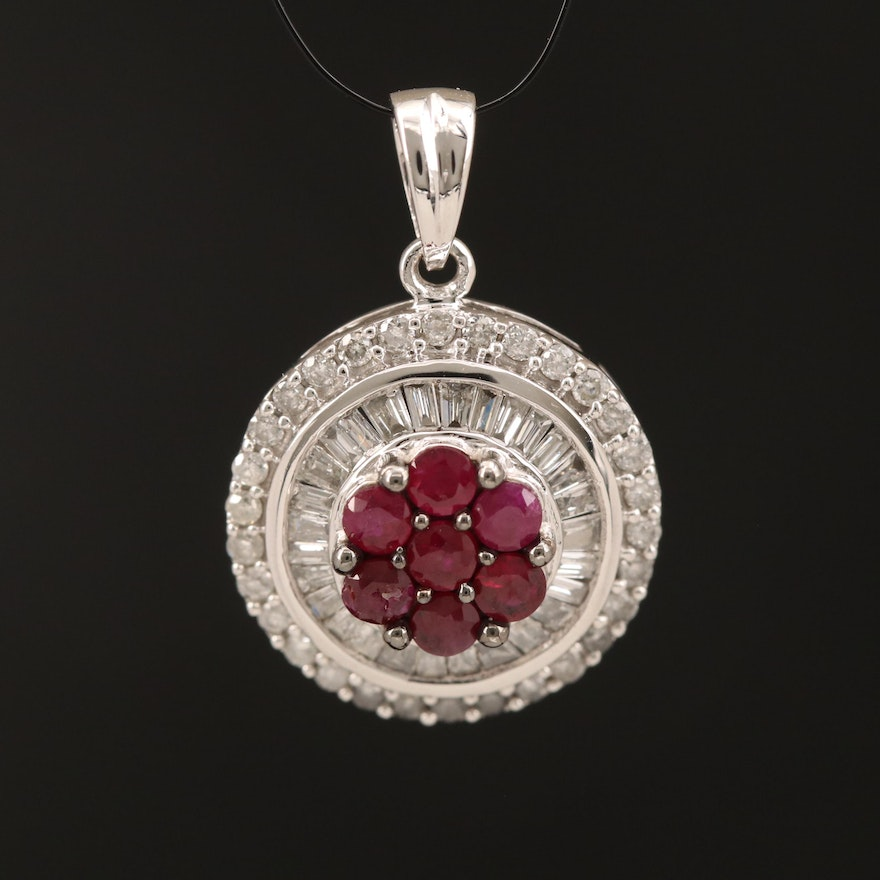 14K Ruby and Diamond Cluster Pendant