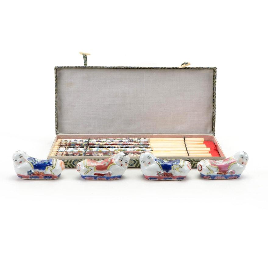 Set of Chinese Cloisonné Chopsticks with Figural Porcelain Rests