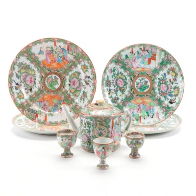 Chinese Rose Medallion Porcelain Dinner Plates, Egg Cups, and Teapot