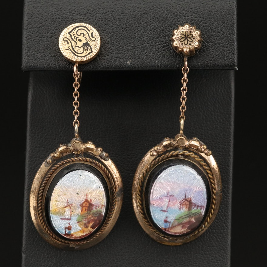 Victorian Guilloché and Taille d'Épargne Non-Pierced Enamel Earrings