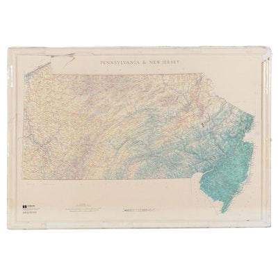 "Hubbard Scientific Raised Relief Map ""Pennsylvania & New Jersey, 1994"""