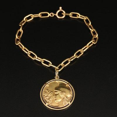 18K Bracelet with Latin Inscribed Medallion