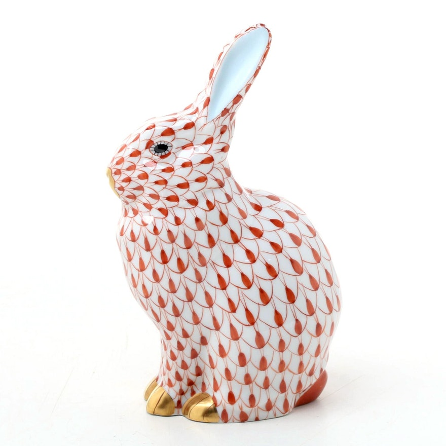"""Herend Rust Fishnet with Gold Porcelain """"Rabbit"""" Figurine"""