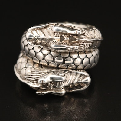 "John Hardy Sterling Silver ""Naga"" Dragon Double Coil Ring"