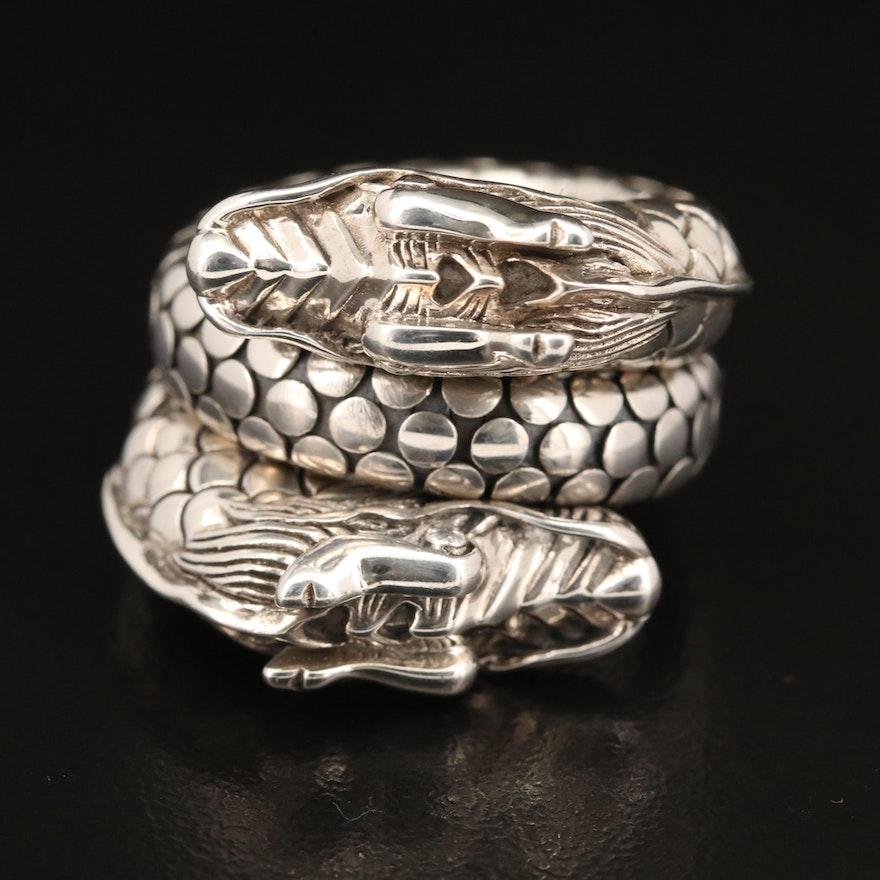 "John Hardy Sterling Silver ""Naga"" Dragon Double Coil Ring"
