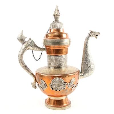 Tibetan Copper and Tin Dragon Shape Coffee Pot, Mid-20th Century