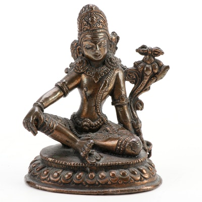 East Asian Cast Copper-Alloy Figure of Seated Tara
