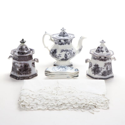 W. Adams & Sons Black Transferware Ironstone and Other Table Accessories