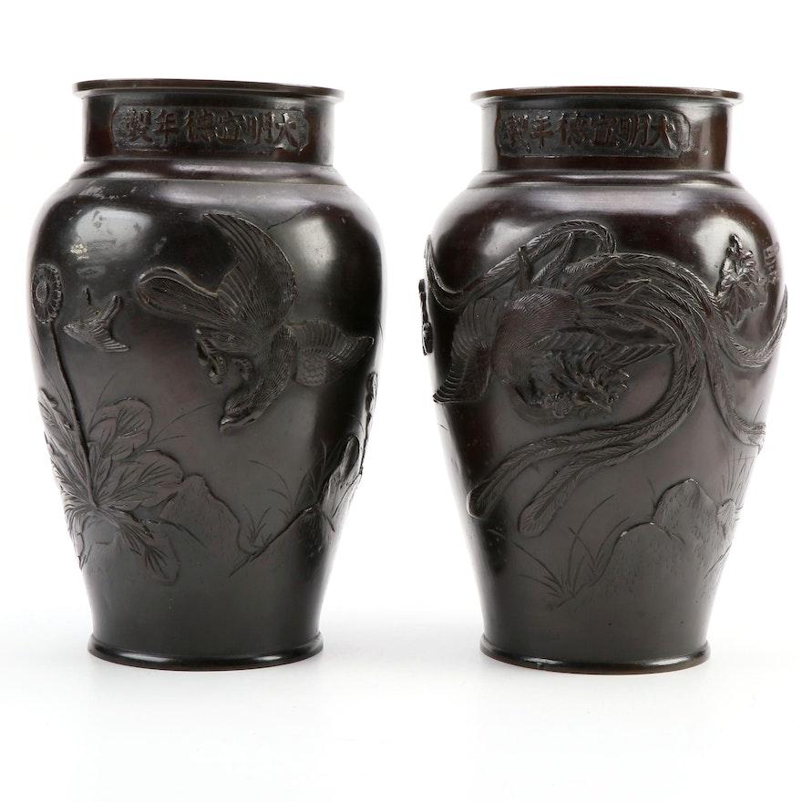 Pair of Japanese Embossed Bronze Temple Vases
