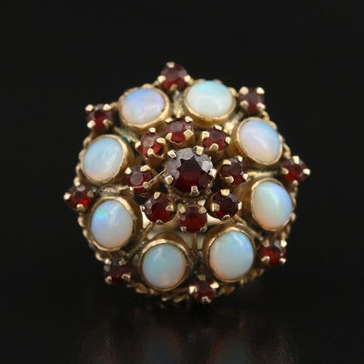 14K Opal and Garnet Bombe Ring