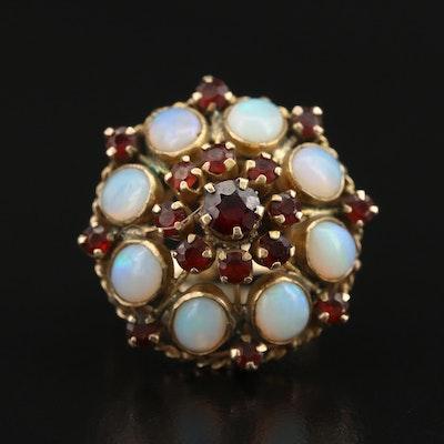 14K Opal and Garnet Bombe Ring