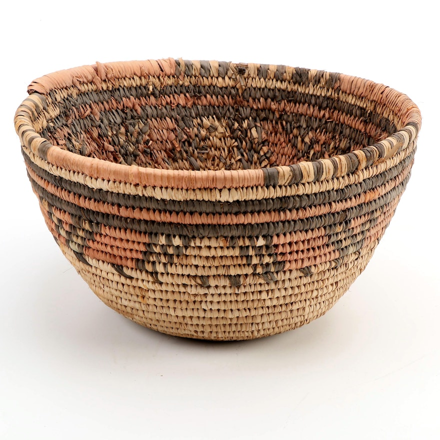 Housa Style West African Handwoven Coil Basket