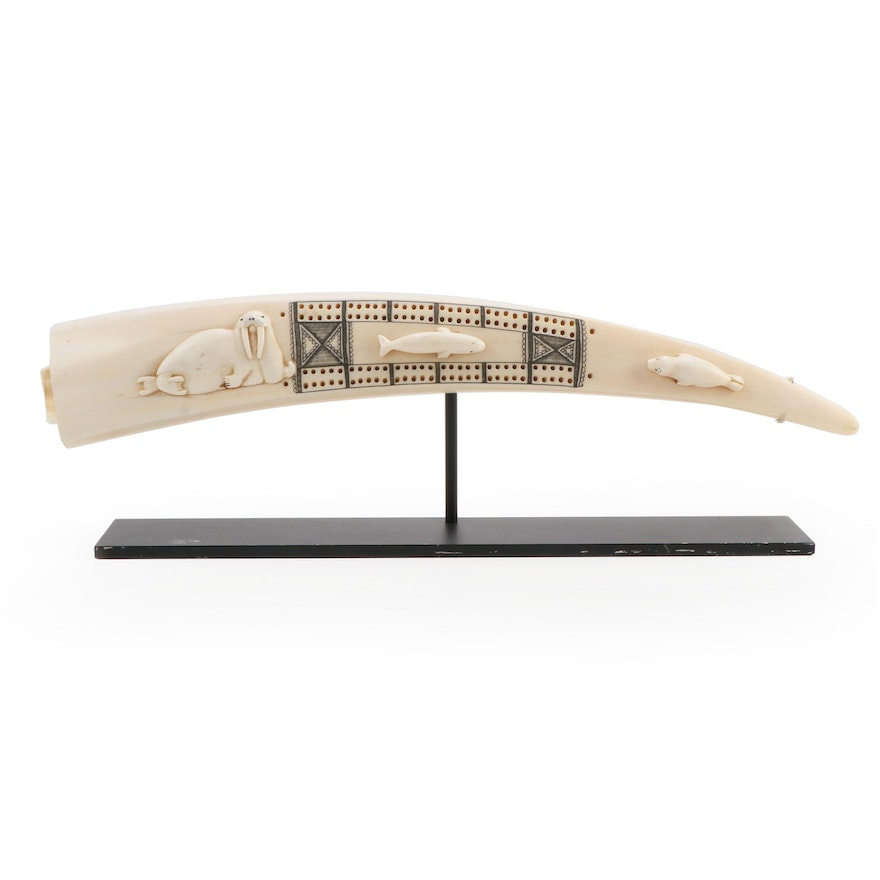 Inuit Carved Walrus Tusk Cribbage Board with Applied Whale