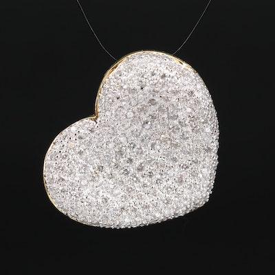 18K 4.03 CTW Pavé Diamond Heart Slide Pendant