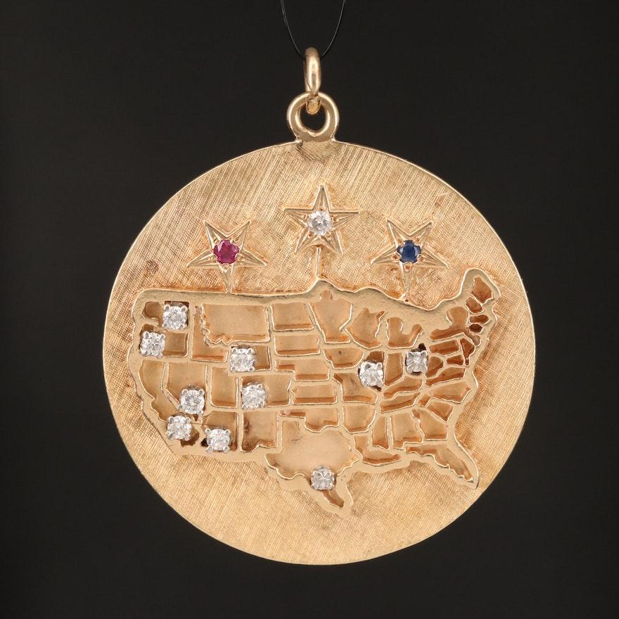 Circa 1950s 14K Diamond, Ruby and Sapphire United State Map Pendant