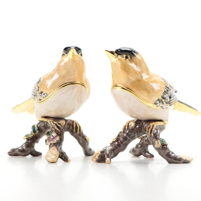 Nobility Enamel and Crystal Embellished Goldfinch Trinket Boxes