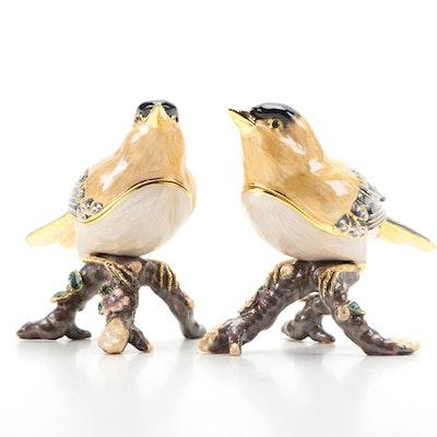 Nobility Enamel and Crystal Embellished Goldfinch Trinket Boxes