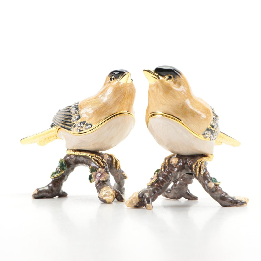 Nobility Enamel and Crystal Embellished Goldfinch Bird Trinket Boxes