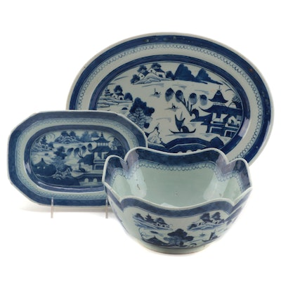 Chinese Export Canton Blue and White Platters and Serving Bowl, 19th Century