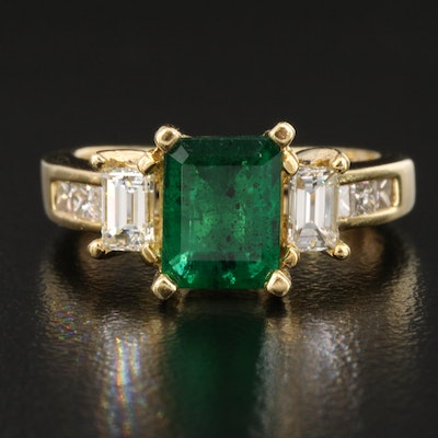 18K 1.15 CT Emerald and Diamond Ring