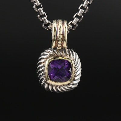 "David Yurman ""Petite Albion"" Sterling Amethyst Enhancer Pendant Necklace"