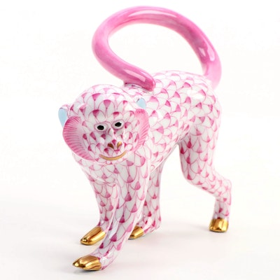 "Herend Raspberry Fishnet ""Walking Monkey"" Porcelain Figurine, January 1994"