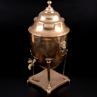 Copper and Brass Urn Shaped Hot Water Dispenser with Lion Handles, Antique