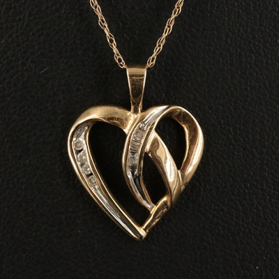 10K Diamond Heart Pendant on 14K Singapore Chain Necklace