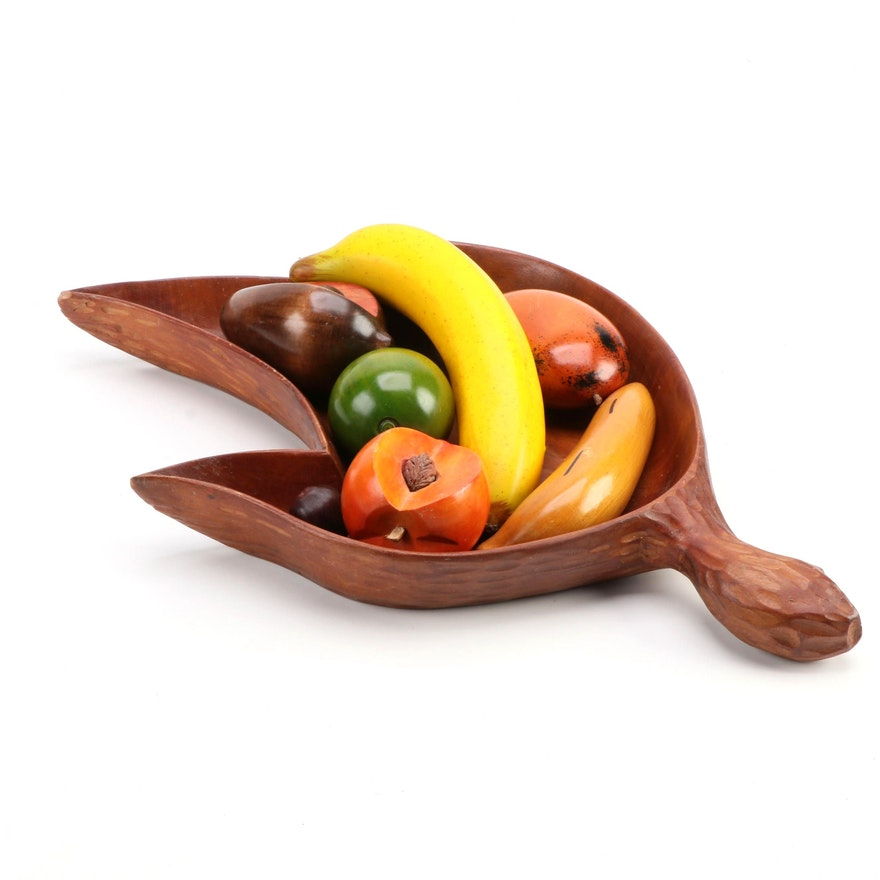 Hand-Carved Monkey Pod Wood Bowl with Fruit, Mid to Late 20th Century