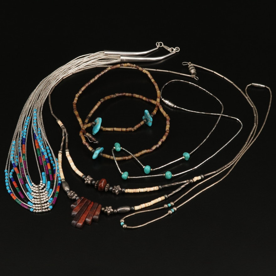 Necklaces Featuring Liquid Silver, Faux Turquoise and Faux Malachite