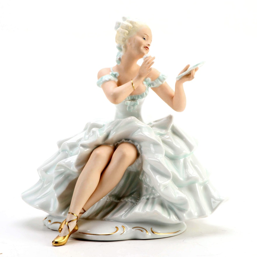 Schaubach Kunst Lady with a Powder Puff Porcelain Figurine, Mid-20th Century
