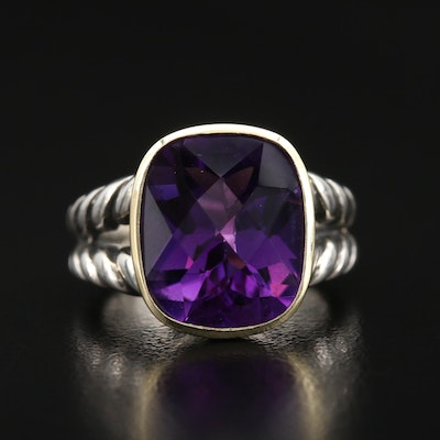 "David Yurman ""Cable Classic"" Sterling Amethyst Ring with 18K Accent"