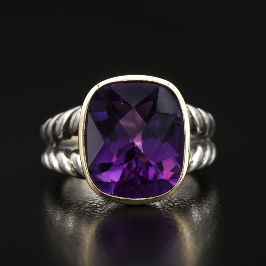 """David Yurman """"Cable Classic"""" Sterling Amethyst Ring with 18K Accent"""