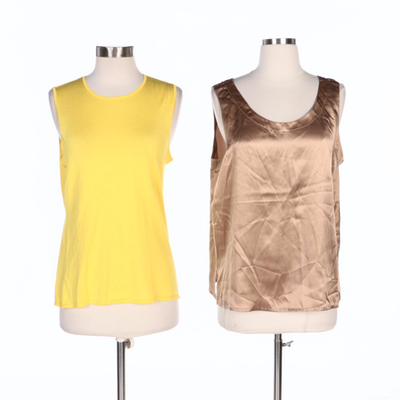 Ralph Lauren Black Label Knit and Saks Fifth Avenue Silk Sleeveless Tops