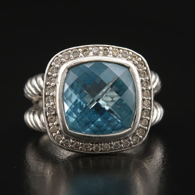 "David Yurman ""Albion"" Sterling Topaz and Diamond Ring"