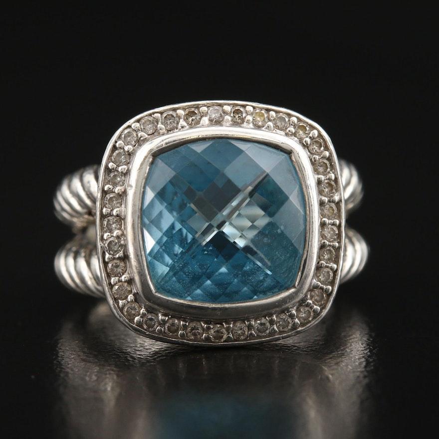 "David Yurman ""Albion"" Sterling Topaz and Diamond Ring"
