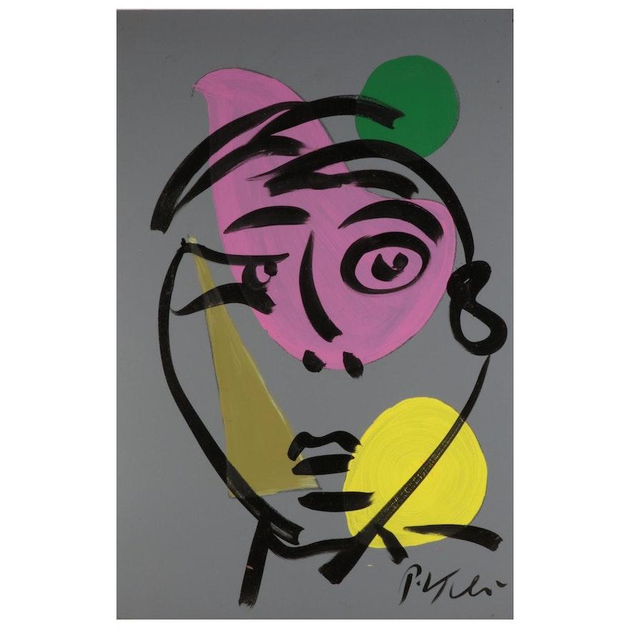 Peter Keil Acrylic Painting of Modernist Portrait, 21st Century