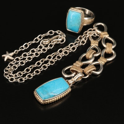 Barse & Co. Sterling Silver Turquoise Necklace and Ring Set
