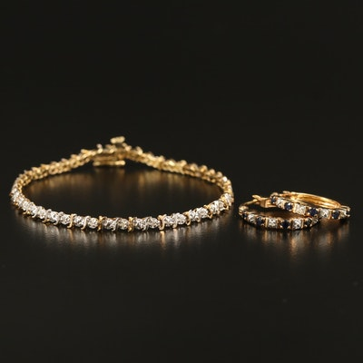 10K Diamond Bracelet with Sterling Sapphire and Diamond Earrings