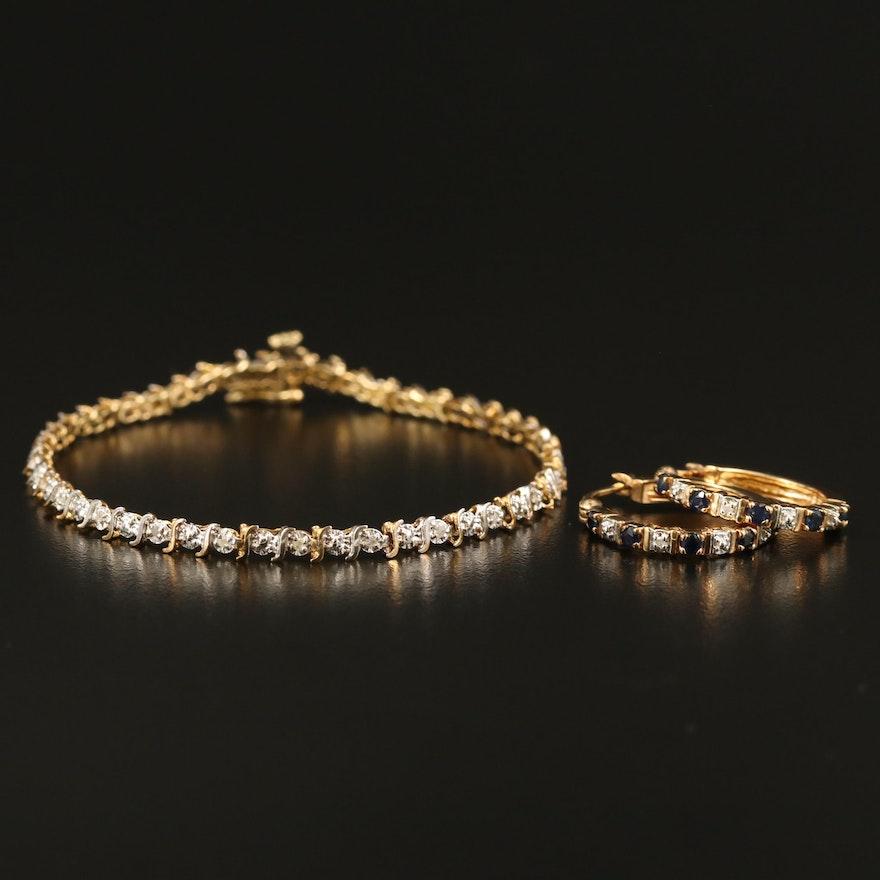 10K Diamond Bracelet with Sterling Sapphire and Diamond Earrings