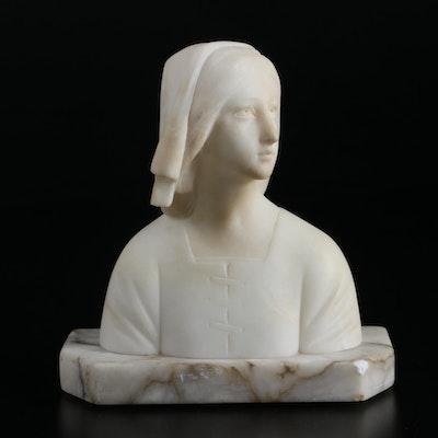 Alabaster Bust of Joan of Arc