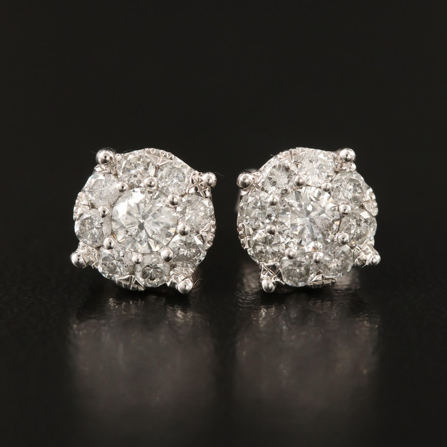 10K Diamond Cluster Stud Earrings