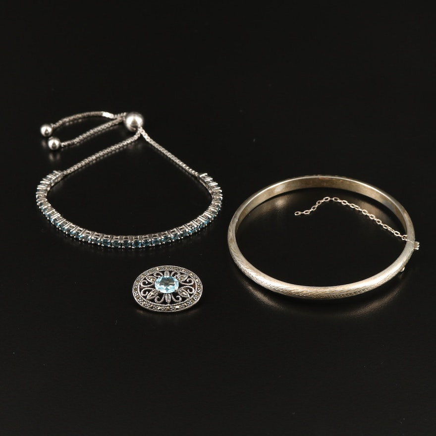 Sterling Grouping with London and Swiss Blue Topaz and Marcasite