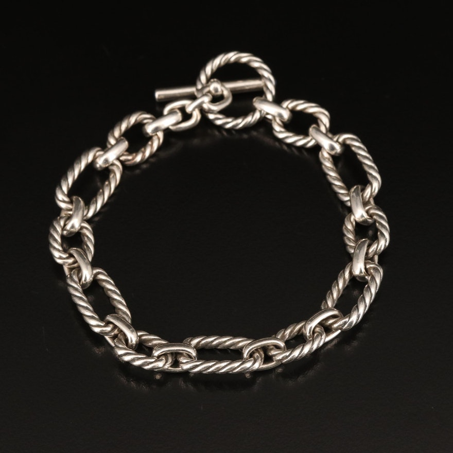 David Yurman Sterling Bracelet with Sapphire Accents