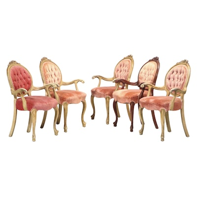 "Five Louis XV Style Buttoned-Down Armchairs, Stamped ""Victorian"", 20th Century"