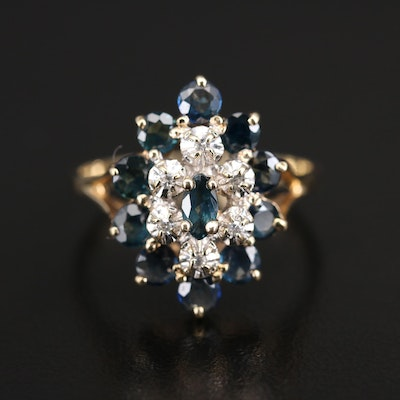 14K Sapphire and Diamond Tiered Ring