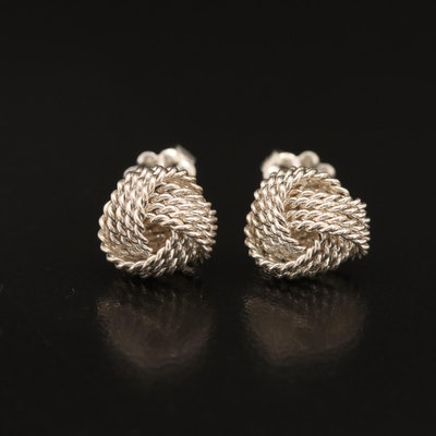 """Tiffany & Co. Sterling """"Twist Knot"""" Stud Earrings with Pouch"""