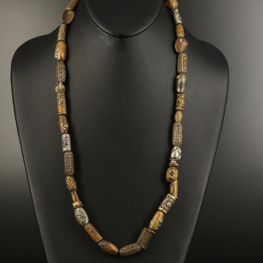 Asian Endless Necklace with Antique and Vintage Beads